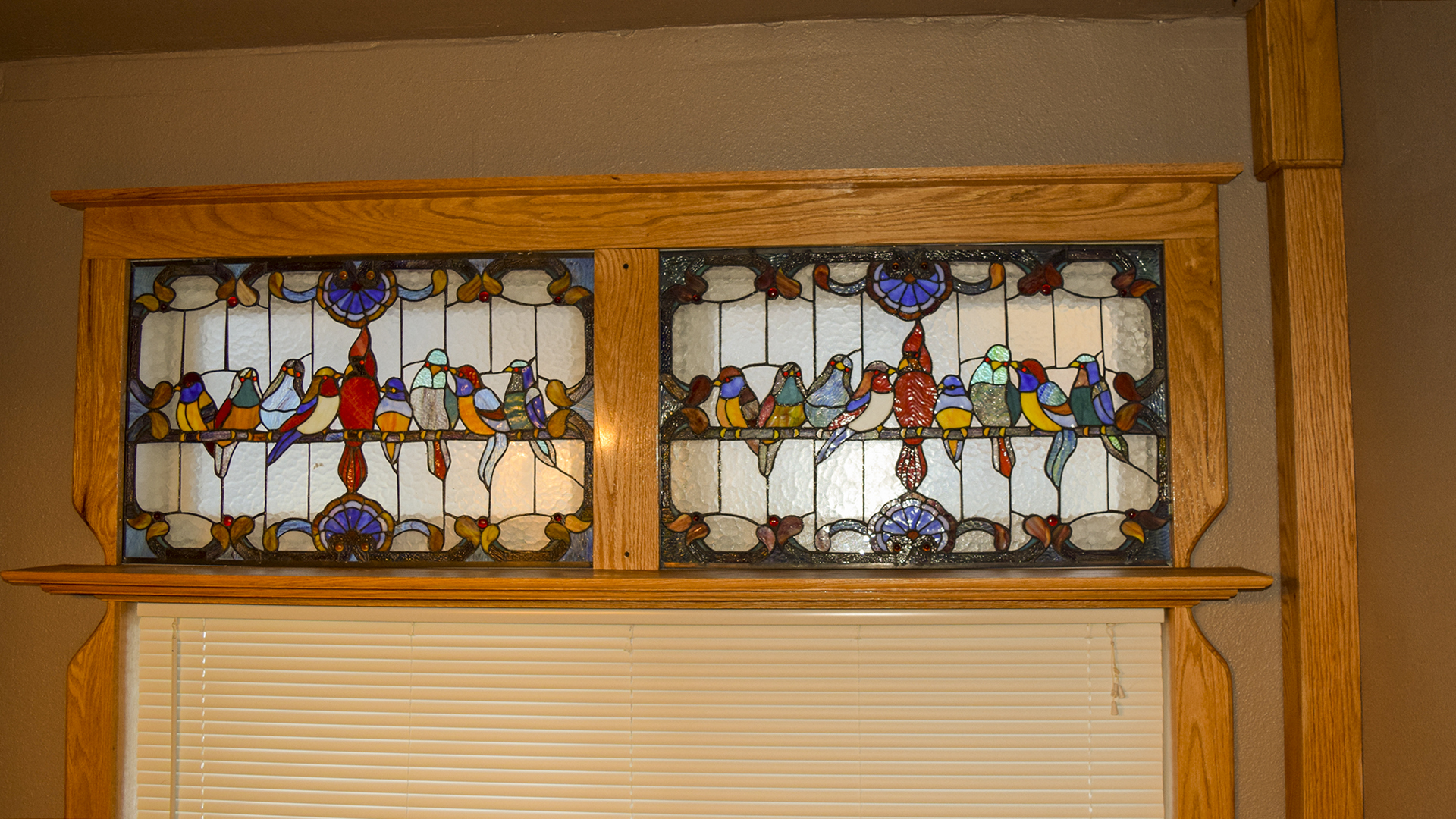Framing the Stained Glass Window with custom made Oak Windowsills.